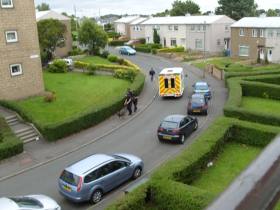 An ambulance takes an injured man to hospital while police and sniffer dogs continue to search the area