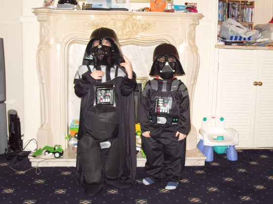They both wanted to be Darth Vader. What can you do?!? Apparently my big brother is Darth Vader this year as well. Spooky coincidence??