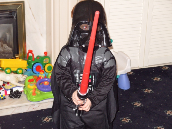 Andrew is only 2 (nearly 3) but he is brilliant at the Darth Vader act. He is skilled with his Light Saber, he makes the noises and everything. He tells Laurence that he is his father!